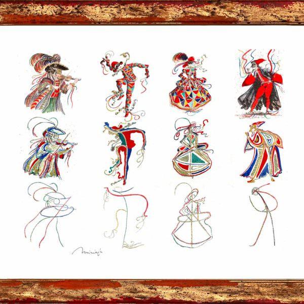 Astrazione di quattro maschere veneziane - venicegallery