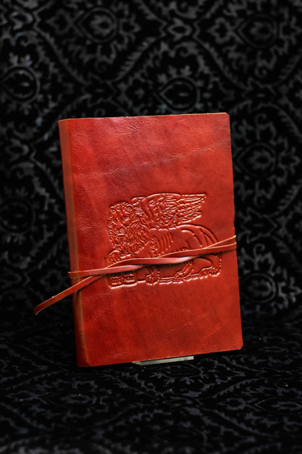 leather diary decorated with san marco lion